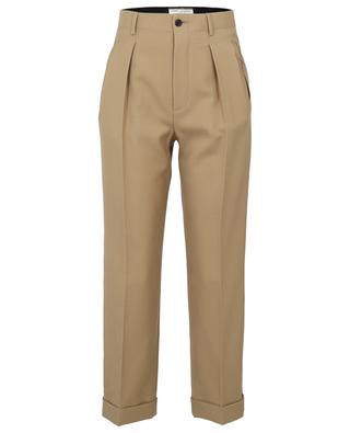 High-rise waistband tuck trousers in wool gabardine SAINT LAURENT PARIS
