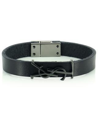 Opyum monogrammed leather and black metal bracelet SAINT LAURENT PARIS