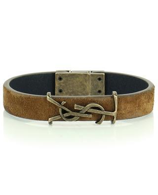 Bracelet fin en daim avec monogramme en laiton SAINT LAURENT PARIS