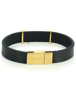 Opyum monogrammed leather and golden metal bracelet SAINT LAURENT PARIS