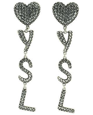 Clips d'oreilles en métal argenté et cristaux YSL Heart SAINT LAURENT PARIS