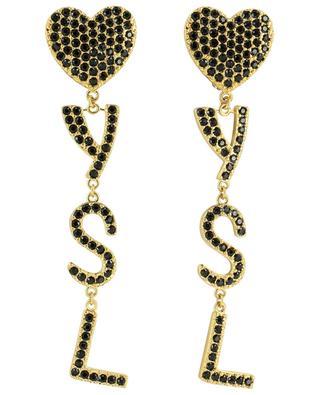 YSL Heart golden metal ear clips with crystals SAINT LAURENT PARIS