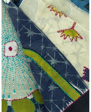 Aube printed and embroidered wool scarf STORIATIPIC