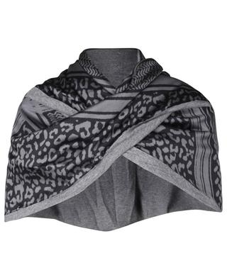 Patchwork viscose and wool blend triangle scarf EBONY & IVORY