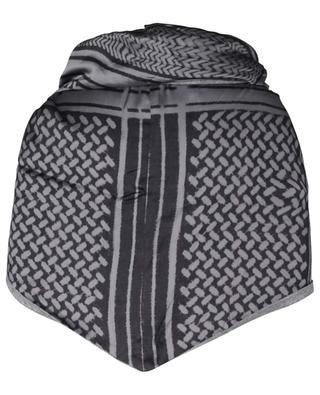 Triangle-Schal aus Viskose- und Wollmix Patchwork EBONY & IVORY
