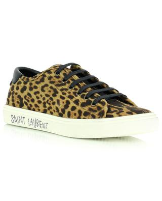 Malibu Used low-top lace-up sneakers in leopard print canvas and leather SAINT LAURENT PARIS