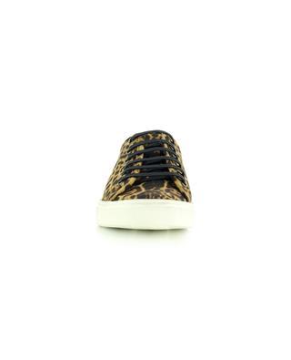 Baskets basses à lacets en toile imprimé léopard et cuir Malibu Used SAINT LAURENT PARIS