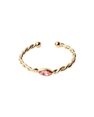 Twist Navette gold plated ring with Swarovski crystal CAROLINE NAJMAN