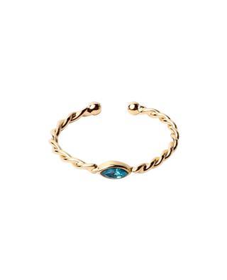 Twist Navette gold-plated ring with Swarovski crystal CAROLINE NAJMAN