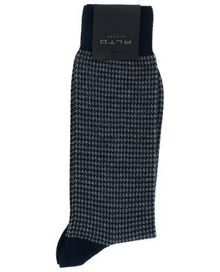 Bombay houndstooth printed cotton and cashmere blend socks ALTO