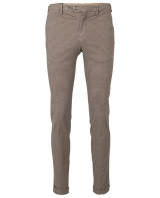 Finely checked skinny fit chino trousers B SETTECENTO