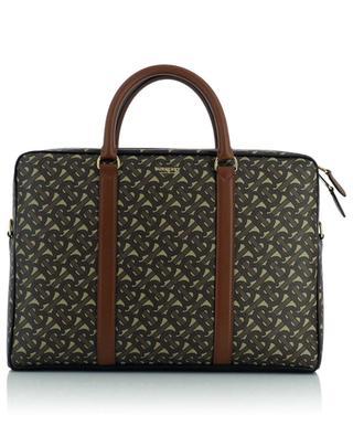 Monogram leather and E-canvas briefcase BURBERRY