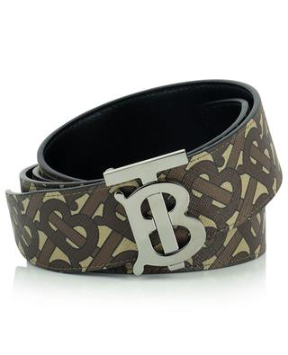 Monogram leather and E-canvas reversible belt BURBERRY