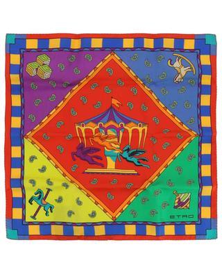 Silk pegasus pocket square ETRO