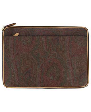Porte-document en cuir texturé imprimé paisley ETRO