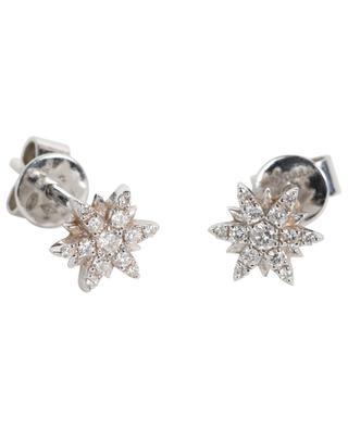 Clous d'oreilles en or blanc et diamants Mini Soleil DJULA