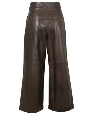 Parel cropped wide-leg high-rise trousers in leather ARMA