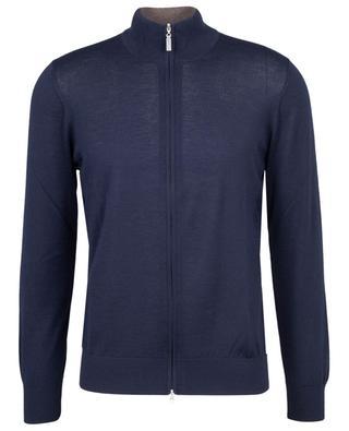Fine zippered high-neck cardigan in cashmere GRAN SASSO
