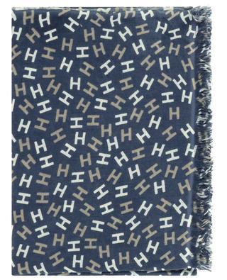 Nies BCS thin monogram printed scarf HEMISPHERE