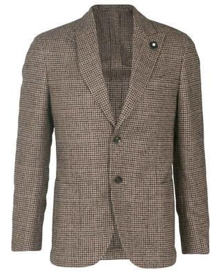 Houndstooth printed wool, silk and cashmere blazer LARDINI