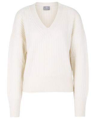 Boxy ribbed V-neck cashmere jumper FTC CASHMERE