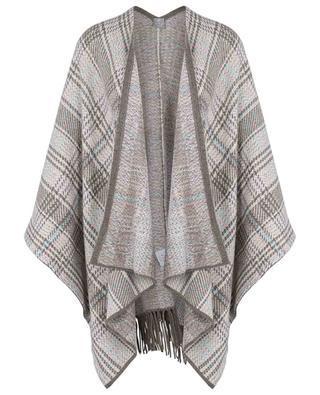 Cashmere glencheck knit poncho FTC CASHMERE