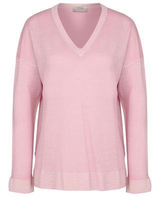 Feiner Pullover aus Schurwolle mit V-Ausschnitt im ausgewaschenen Look GRAN SASSO