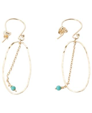 Bo Bohème gold-plated dangle earrings with turquoise pearl MONSIEUR PARIS