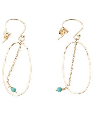 Boucles d'oreilles plaquées or avec perle turquoise Bo Bohème MONSIEUR PARIS