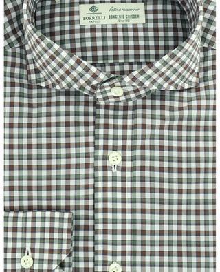 Chemise à carreaux tricolores en popeline Felice LUIGI BORRELLI