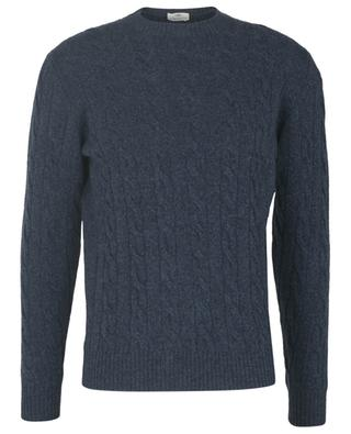 Crewneck cable knit jumper in 120's wool and cachemire LUIGI BORRELLI