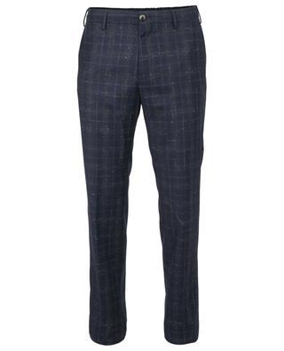 Super 110's checked slim fit wool trousers PT TORINO