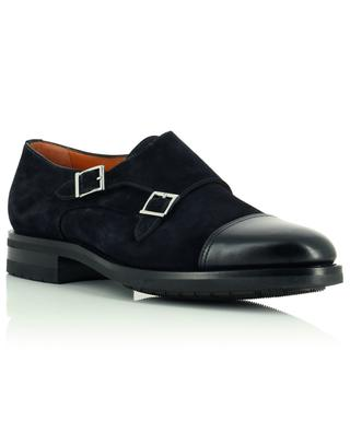 Suede and smooth leather monk strap shoes SANTONI