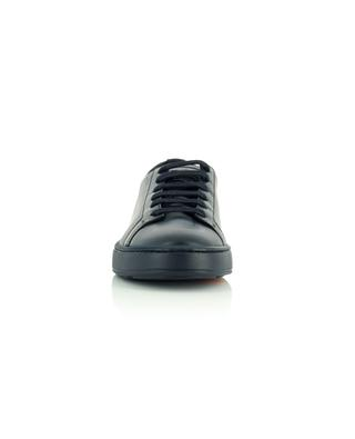 Monochrome smooth leather low-top lace-up sneakers SANTONI