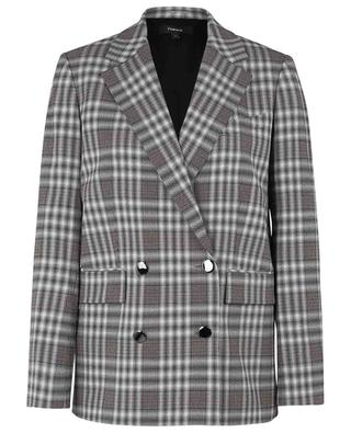 Piazza Plaid straight fit double-breasted blazer THEORY