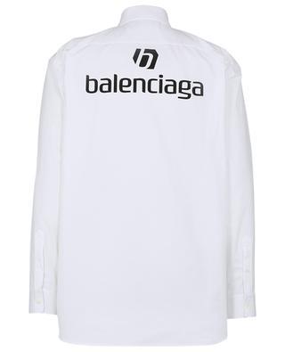 Oversize shirt in heavy poplin with logo print BALENCIAGA