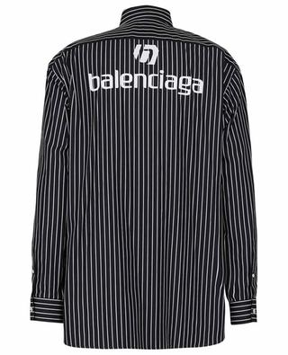 Gestreiftes Hemd mit Logo Print Large Fit BALENCIAGA