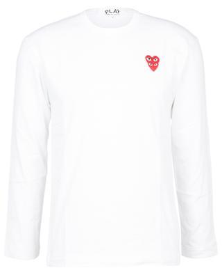 Langarm-T-Shirt mit Herzstickereien COMME DES GARCONS PLAY