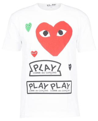 Printed short-sleeved tee with embroidered hearts COMME DES GARCONS PLAY