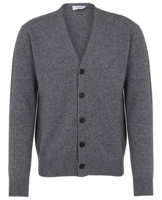 Slim fit button down V-neck cardigan in wool and cashmere DONDUP