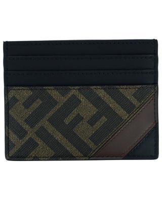 Kartenetui aus Leder und FF-Tuch mit diagonalem Streifen FENDI