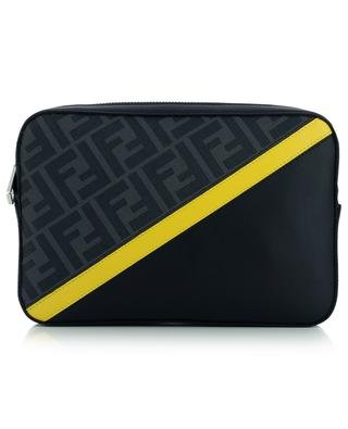 Sacoche en cuir et toile FF détail diagonal Camera Case Medium FENDI
