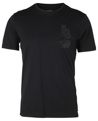 T-Shirt aus Baumwolle mit FF-Monogramm aus Kristallen FENDI