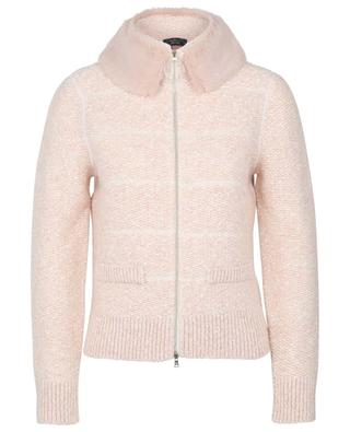 Cropped jacket with faux-fur collar MARC CAIN