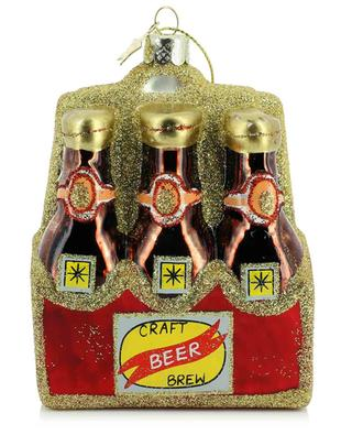 Beer in Tray glass Christmas bauble 11 cm VONDELS