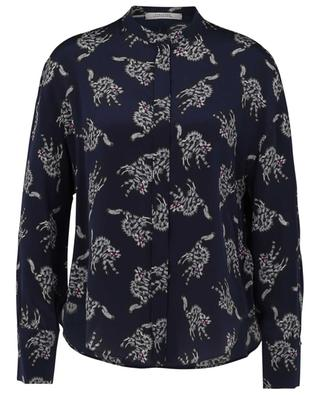 Quirky Cat printed silk shirt with Mandarin collar DOROTHEE SCHUMACHER
