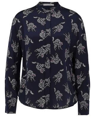 Quirky Cat printed silk shirt with Mandarin collar DOROTHEE SCHUMACHER