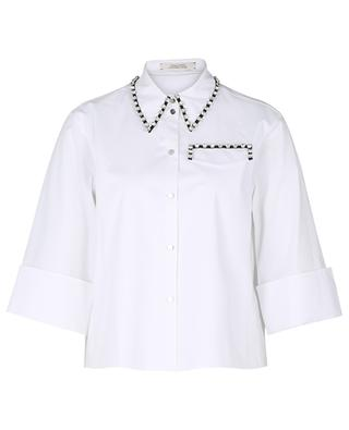 Poplin Power short loose crystal embellished shirt DOROTHEE SCHUMACHER