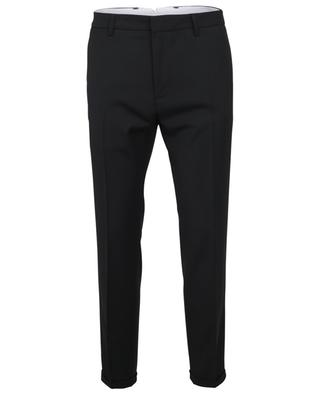 Pantalon slim à petits revers en laine stretch PAOLO PECORA