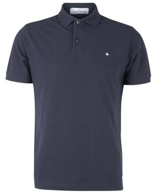 Short-sleeved cotton polo shirt embroidered with a stylized wind rose STONE ISLAND